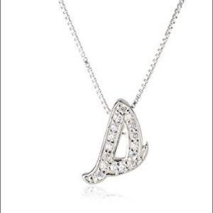 Sterling silver and crystal lowercase s necklace